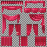 Luxury set of golden velvet silk curtains. EPS 10. Luxury set of red velvet silk curtains. Isolated on transparent background. And also includes EPS 10 vector Stock Images