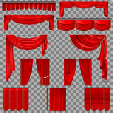 Luxury set of red velvet silk curtains. EPS 10. Luxury set of red velvet silk curtains. Isolated on transparent background. And also includes EPS 10 vector Stock Photography
