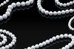 Luxury set white pearl necklace on a black background with glossy reflection and blank  template for your design Royalty Free Stock Photography