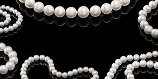 Luxury set white pearl necklace on a black background with glossy reflection Stock Photo