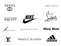 Luxury Shoe Brand Logos Stock Photography
