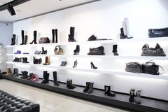 Luxury shoe store with bright interior Stock Image