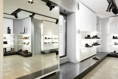 Luxury shoe store with bright interior Royalty Free Stock Photos