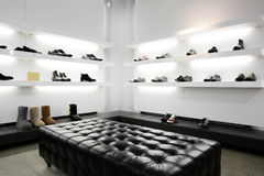 Luxury shoe store with bright interior Stock Photography