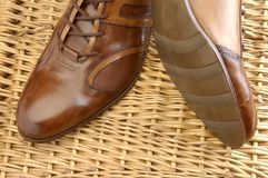 Luxury shoes 31. Brown luxury shoes and wood field Stock Images