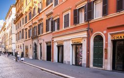 The luxury shopping avenue Via del Babuino in Rome Royalty Free Stock Photography
