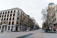 Luxury shopping street in Madrid. Madrid, Spain - April 7, 2018:  Serrano Street in Salamanca District a cloudy day. Salamanca is well known for being one of the Stock Photo