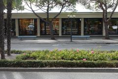 Luxury shopping street road side view. royalty free stock photo