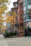 Luxury shops that line the busy city blocks,Newbury Street,Boston,2014 Royalty Free Stock Photography