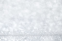 Luxury silver bokeh background. Magic christmas concept. Text space Stock Photography