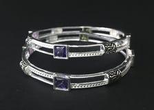 Luxury silver bracelet stock photo
