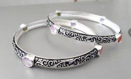 Luxury silver bracelet Stock Photography