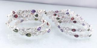 Luxury silver bracelet Stock Images