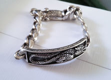 Luxury silver bracelet Royalty Free Stock Image