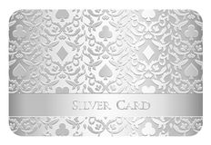 Luxury silver card with card symbols ornament Stock Image