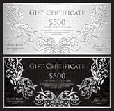 Luxury silver gift certificate in vintage style Royalty Free Stock Images