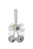 Luxury Silver jingle Bells with bowknot, hanging Decoration Royalty Free Stock Photo