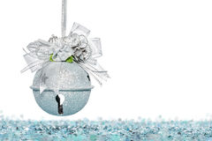 Luxury Silver jingle Bells with Snow, hanging Decoration Stock Photography