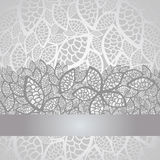Luxury silver leaves lace border and background vector illustration