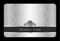 Luxury silver member card with vintage floral patt Royalty Free Stock Photo
