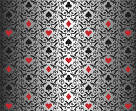 Luxury silver poker background with card symbols o Stock Images
