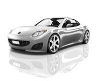 Luxury Silver Sports Car Contemporary Concept Stock Photos