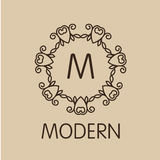 Luxury,simple  and elegant monochrome  monogram Stock Photo