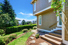 Luxury single family house exterior, side view Royalty Free Stock Images