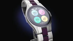 Luxury smart watch on darken background Stock Image