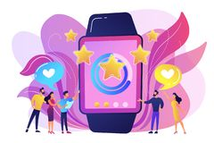Luxury smartwatch concept vector illustration. Users with hearts like huge smartwatch with rating stars. Luxury smartwatch, fashion watch and luxury lifestyle stock illustration