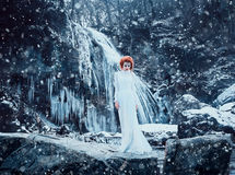 Luxury snow queen. Stands on top of the snow-covered mountains and looks into the distance,fashionable toning,creative computer colorsn Royalty Free Stock Images