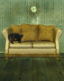 Luxury sofa with cat. Luxurious couch and old style wallpaper background 3D Rendered vector illustration