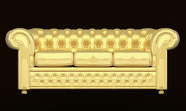 Luxury sofa with golden leather. Modern couch isolated on black background Royalty Free Illustration