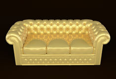 Luxury sofa with golden leather. Perspective modern couch isolated on black background Vector Illustration