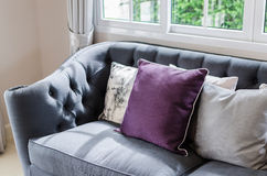 Luxury sofa in living room with pillow Royalty Free Stock Images