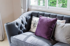 Luxury sofa in living room with pillow Stock Images