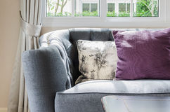 Luxury sofa in living room with pillows Royalty Free Stock Images