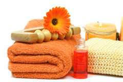 Luxury spa accessories in orange color Royalty Free Stock Photography