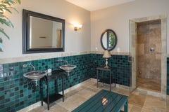 Luxury spa badkamers met kalksteentegel en douche stock afbeelding