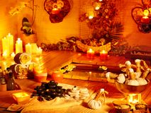 Luxury spa interior with burning candle. Stock Image