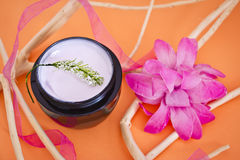 Luxury spa product with flower and branches Royalty Free Stock Photography