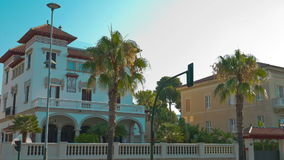 Luxury Spanish villa and palm trees, Salou City in Spain. Costa Daurada in Catalonia, Spain, shot in RAW 4K stock video