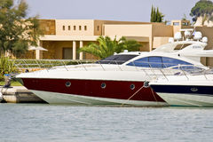Luxury speed boats stock images