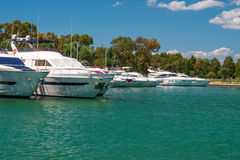 Luxury speed boats parked on a marina, Greece Stock Photo