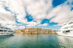 Luxury speedboat yacht in Malta marina. Freedom and weatlhy lifestyle Stock Images