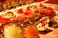 Luxury spoon serve buffet. In the restaurant Royalty Free Stock Photo