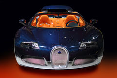 Luxury sport car blue carbon. With orange interior stock photography