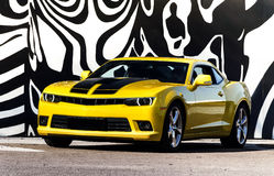 Luxury sport car. Luxury sport yellow car. Speed and modern style royalty free stock photography