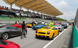 Luxury sport cars joining an event at SUPER GT Stock Images