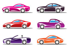 Luxury sport cars silhouettes Royalty Free Stock Images